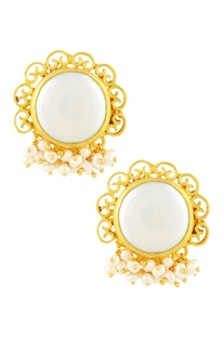 Gold plated filigree design tops with pearls