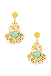 Gold plated danglers with turquoise stone