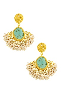 Gold plated danglers with turquoise semi-precious stone
