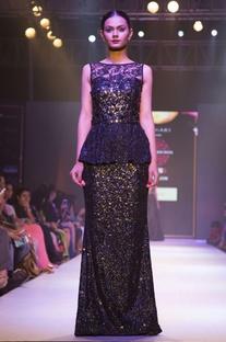 Black peplum embellished gown