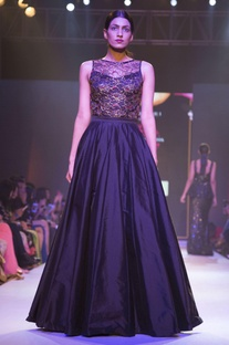 Black lace embellished gown