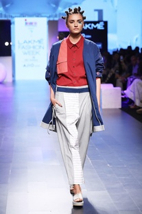 Azure blue embroidered duster coat