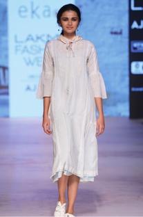 Pastel blue embroidered midi dress