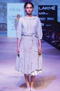 Sky blue hand block printed skirt