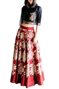 Red A-line skirt with beige floral details