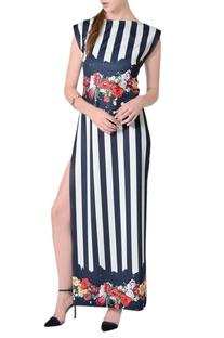 Midnight blue & white striped maxi dress