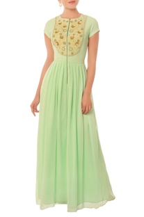 Mint green long gown with pearl and threadwork yoke