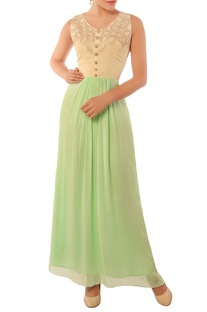 Mint green and ivory gown