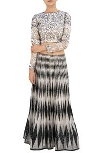 White & black bandhani skirt