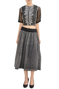 Black French knotted skirt