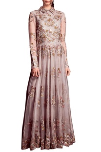 Grey embroidered gown