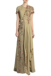 Pista green embroidered jumpsuit