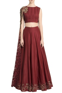 Maroon pin-tuck crop top with embroidered skirt and sheer cape