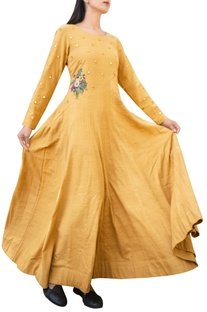 Mustard gown with mirror and floral applique details