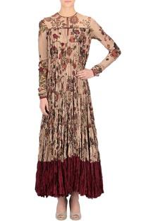 Beige floral print long kurta