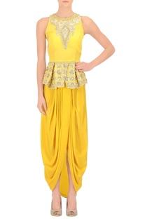 Sunflower yellow peplum top & draped skirt