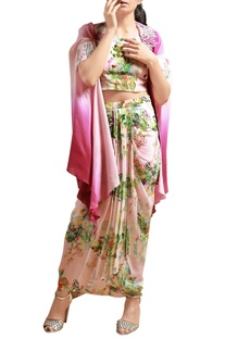 Beige printed co-ord set with pink cape