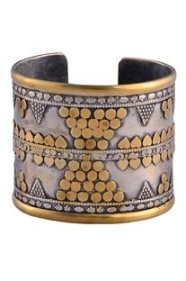 Antique silver & gold cuff