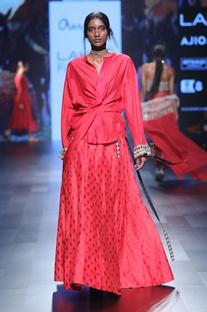 Red benarasi silk skirt