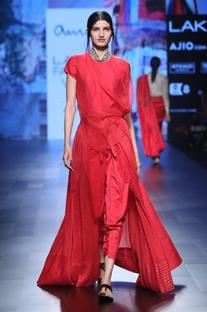 Red benarasi silk jumpsuit