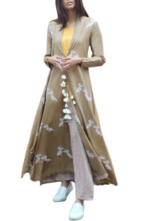 Beige pelican long jacket with inner