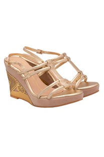 Gold strappy laser cut wedges