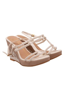 White strappy laser cut wedges