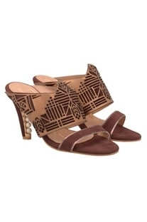 Brown & gold laser cut heels