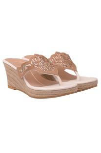 White & beige laser cut jute wedges