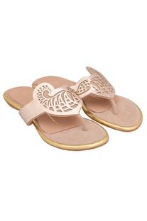 Gold laser cut sandals