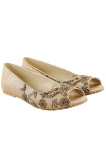 Cream embroidered flats