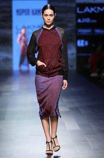 Multi-colored bandhani pencil skirt