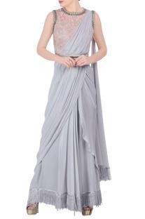 Grey sari & peach embellished blouse