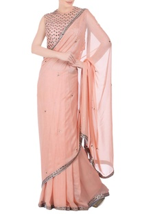 Peach embellished sari & blouse