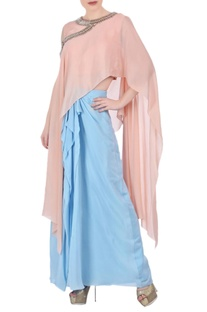 Peach asymmetric top & pastel blue skirt