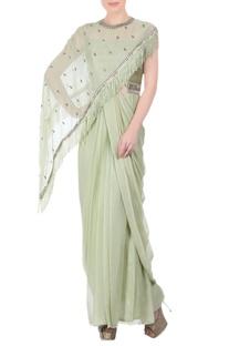 Pista green sari gown & cape