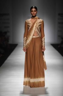 Brown & ivory embellished sari gown