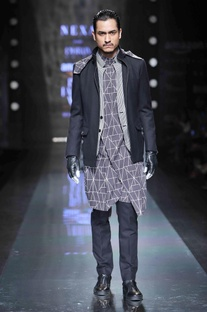 Grey abstract print kurta