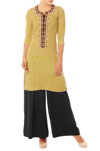Pale yellow embroidered tunic