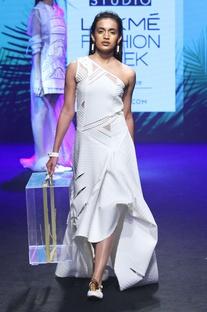 White asymmetric dress with cutwork