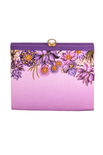 Purple shaded lotus print box clutch