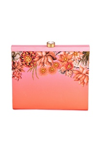 Pink shaded lotus print box clutch