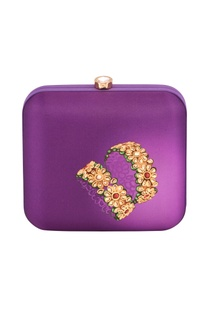Purple box clutch with gold floral print
