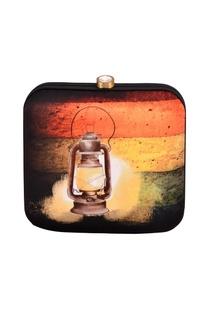 Orange & yellow striped lantern print clutch