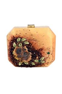Gold & orange floral applique hexagonal clutch