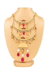 Gold plated & maroon three layered necklace