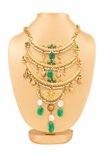 Gold plated & green layered necklace