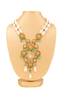 Gold plated necklace with green stone accents