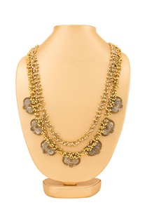 Gold plated layered necklace with ghungroo detail