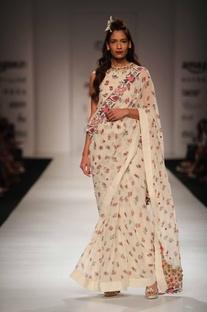 Ivory khadi peplum top & sari